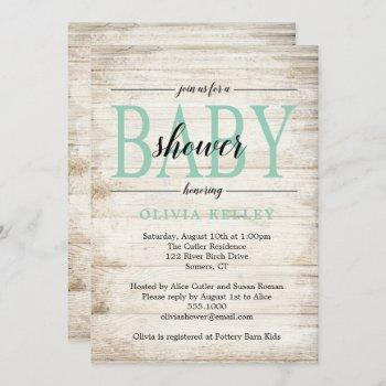 Rustic Wood Baby Shower , Mint Green