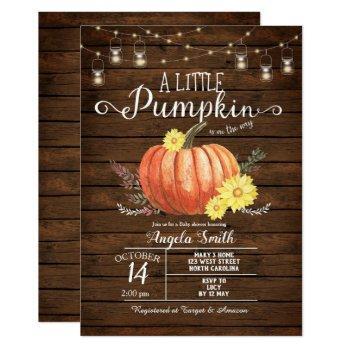 Rustic Wood Baby Shower Little Pumpkin Invitation