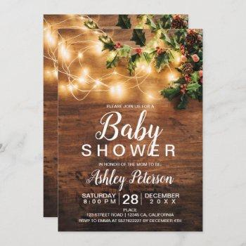 Rustic Wood Christmas Baby Shower Mistletoe Light Invitation