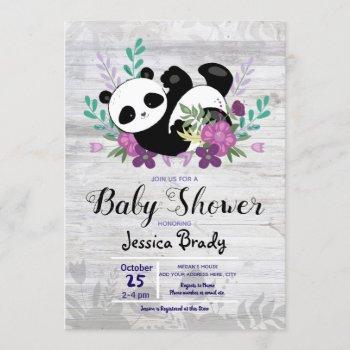 Rustic Wood Panda With Purple Flowers Baby Shower Invitation