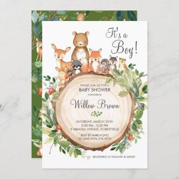 Rustic Woodland Animals Baby Shower Boy Invitation