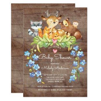 Rustic Woodland Animals Baby Shower Invitation
