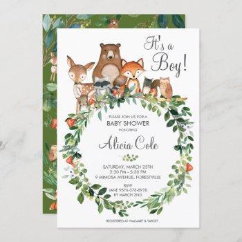 Rustic Woodland Animals Baby Shower Neutral Boy Invitation