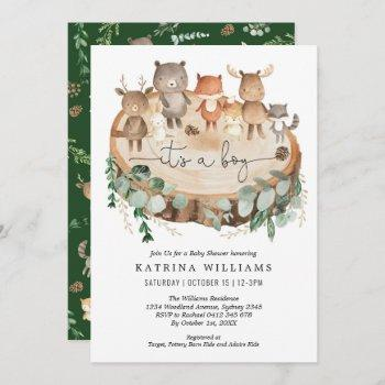 Rustic Woodland Animals Greenery Boy Baby Shower Invitation