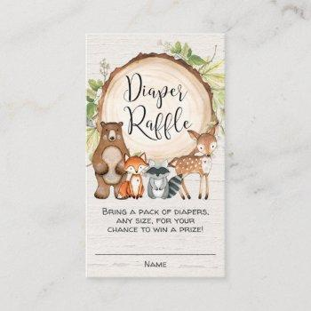 Rustic Woodland Cute Animals Diaper Raffle Cards