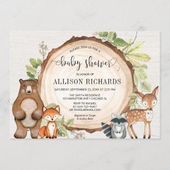 Rustic Woodland Cute Forest Animals Baby Shower Invitation