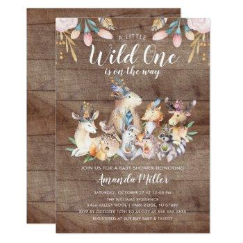 Rustic Woodland Friends Wild One Baby Shower Invitation