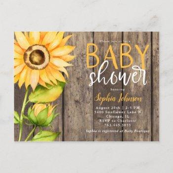 Rustic Yellow Sunflower Floral Baby Shower Invitation Postcard