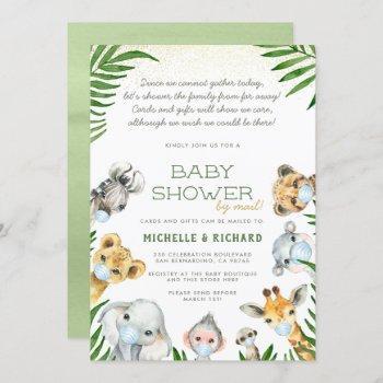 Safari Animals Baby Boy Baby Shower By Mail Invitation