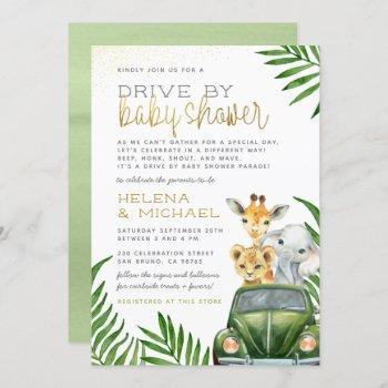 Safari Animals Baby Boy Drive By Baby Shower Invitation