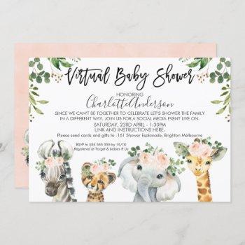 Safari Animals Virtual Baby Shower Invitation