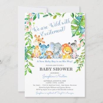 Safari Animals Wild Jungle Boy Baby Shower Invitation
