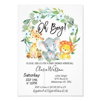 Safari Animals Wreath Baby Shower Invitation