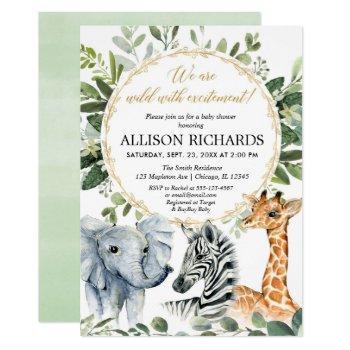 Safari Baby Shower, Gender Neutral Jungle Animals Invitation