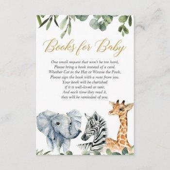 Safari Book Request, Jungle Zoo Animals Watercolor Enclosure Card