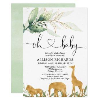 Safari Gold Animals Gender Neutral Baby Shower Invitation