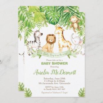 Safari Jungle Animals Baby Shower Boy Green Forest Invitation