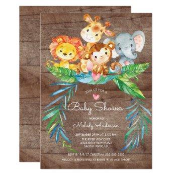 Safari Jungle Animals Baby Shower Invitation