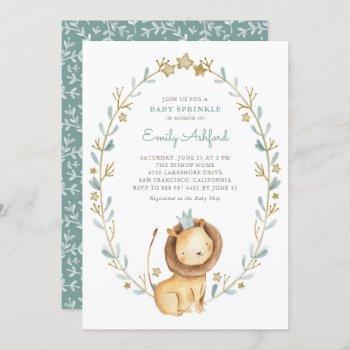 Safari Watercolor Lion Prince Boy Baby Sprinkle Invitation