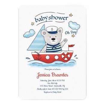 Sailing Teddy Bear Baby Shower Invitation