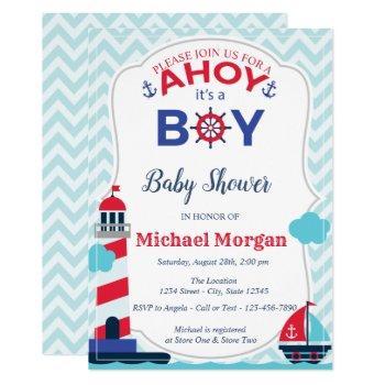 Sailor,ahoy It's A Boy Baby Shower Invitation