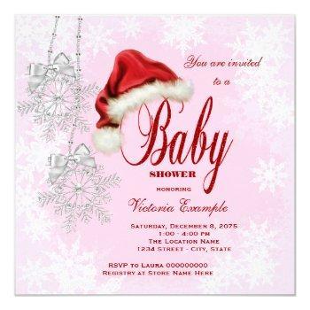 Santa Hat And Pink Snowflake Christmas Baby Shower Invitation