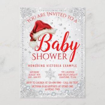 Santa Hat Snowflake Christmas Baby Shower Invitation