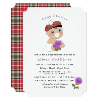 Scottish Tartan |thistle Flower Cute Baby Shower Invitation