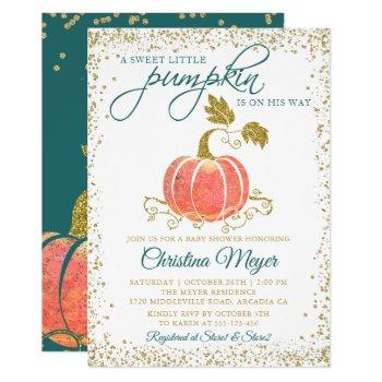 Script Watercolor Pumpkin Glitter Fall Baby Shower Invitation