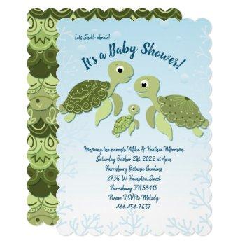 Sea Turtle Baby Shower Co-ed Gender Neutral Invitation