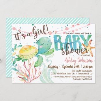 Sea Turtle Ocean Baby Shower Invitation, Girl Invitation
