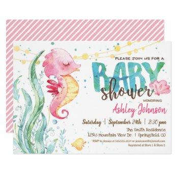 Seahorse, Girl Baby Shower Invitation
