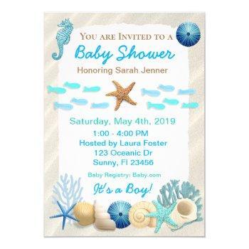 Seaside Oceanic Boy's Baby Shower Invitation