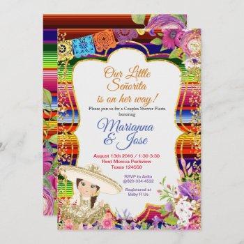 Senorita Fiesta Couple Shower Gold Girl Invitation