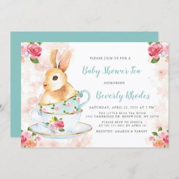Shabby Chic Bunny Baby Shower Tea Party Invitation