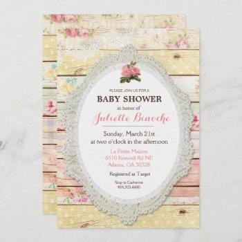 Shabby Chic Floral Wood Baby Shower