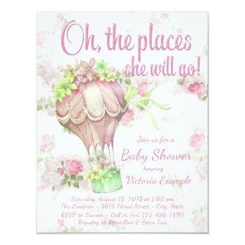 Shabby Chic Hot Air Balloon Baby Shower Invitation