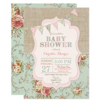 Shabby Rustic Country Chic Floral Lace Burlap Invitation