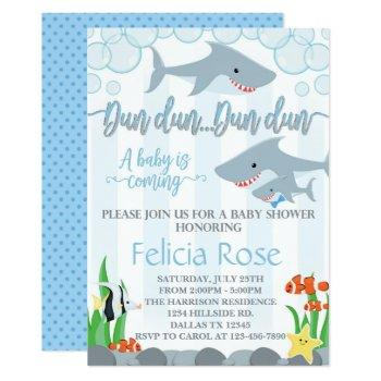Shark Baby Shower Invitation Invite Boy