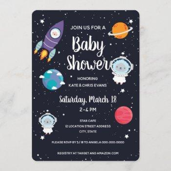 Sheep In Space Baby Shower Space Navy Galaxy Invitation