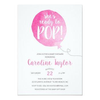 She's Ready To Pop Pink Gray Baby Girl Shower Invitation
