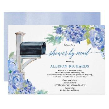 Shower By Mail Blue White Floral Boy Baby Shower Invitation