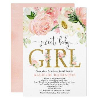 Shower By Mail Blush Pink Gold Girl Baby Shower Invitation