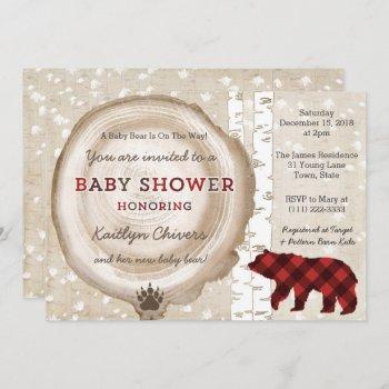 Silver Birch Plaid Winter Baby Shower For Boy Invitation