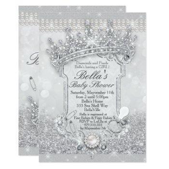 Silver Bling Glitter Baby Shower Invitations