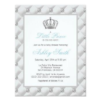 Silver Crown Prince Baby Shower Invitation