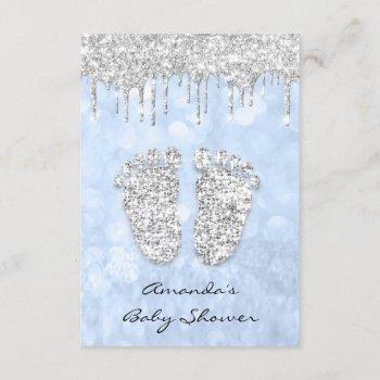 Silver Drips Blue Baby Boy Shower Feet