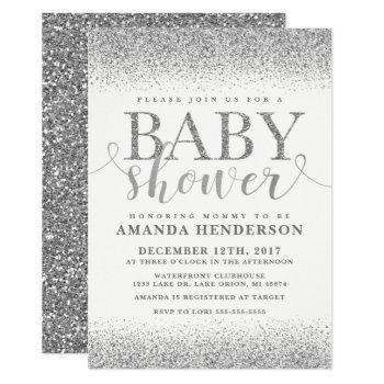 Silver Faux Glitter Baby Shower Invitation