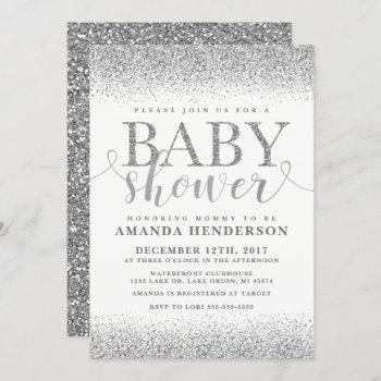 Silver Faux Glitter Baby Shower