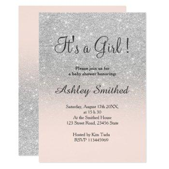 Silver Faux Glitter Pink Ombre Girl Baby Shower Invitation